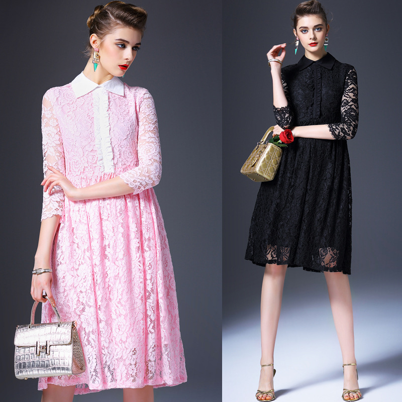 The new spring and summer 2016 fashion brand women's Polo temperament slim lace dress Q6221