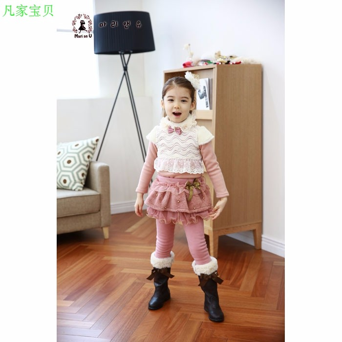 Скидки на Детской одежды плюс толстый бархат брюки девушки новый кружево сетки леггинсы брюки диких
