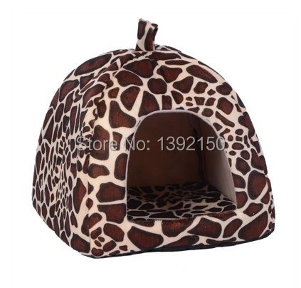 Leopard kennel !!! Super New Soft Leopard Pet Dog Cat Rabbit Bed House Kennel Doggy Warm Cushion Basket Color S~L(China (Mainland))