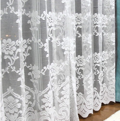 White tulle curtain window screening balcony lace thick curtain yarn finished - Rideaux anciens dentelle ...