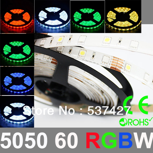 Epistar Chip 5050 SMD 60 LED/Meter RGB+W LED Strip Light 2 years warranty,CE RoHS Certified, 5 Meter+1 Controler/Pack(China (Mainland))