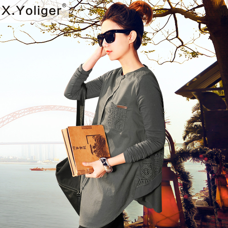 2015 New Autumn Hollow Fashion Loose Blouse European and American Style Long Sleeve Patchwork women Shirt 444008(China (Mainland))