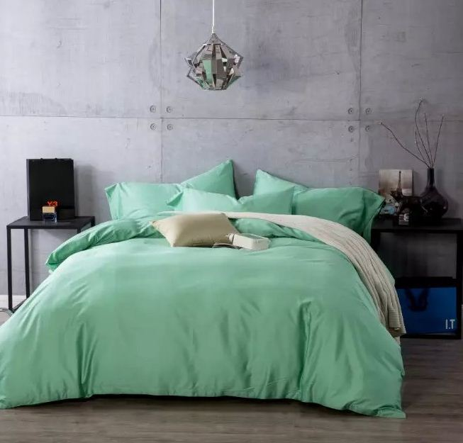 Mint Green Solid Color Bedding Sets Egyptian Cotton King