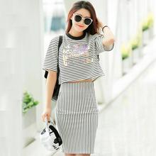 Buy White Striped Tracksuit 2016 Crop Top Skirt Set Slim Casual 2 Piece Set Women Summer Conjunto Feminino Suit Women for $17.84 in AliExpress store