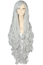 Free Shipping 100cm Synthetic Hair Long Curly White Blonde Pink Red Blue Brown Cosplay Wig Perruque(China (Mainland))