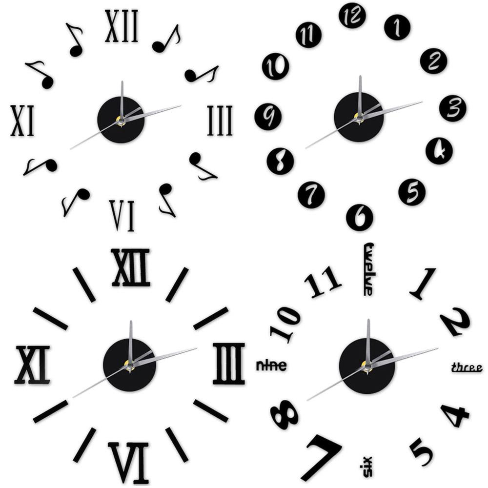 12'' 3D Vintage Large Wall Clock DIY Retro Black Silver Red Gold Wall Clock Quartz Decorative Clock(China (Mainland))