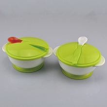 Toddler Silicone Rice Soup Fruit Bowl Set Kid Sucker Feeding Bowl Spoon Children's Tableware Plate Pratinho Bebe Assiette Enfant