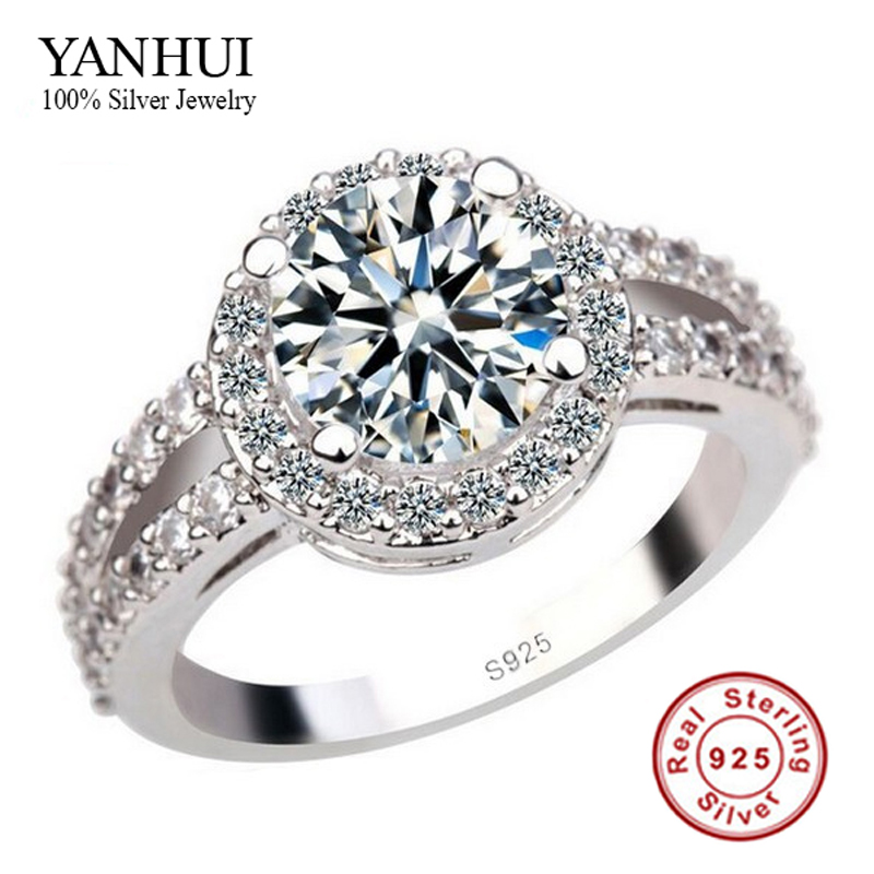 YANHUI 100% 925 Pure Silver Engagement Ring S925 Stamp 3 Carat CZ Diamond Wed