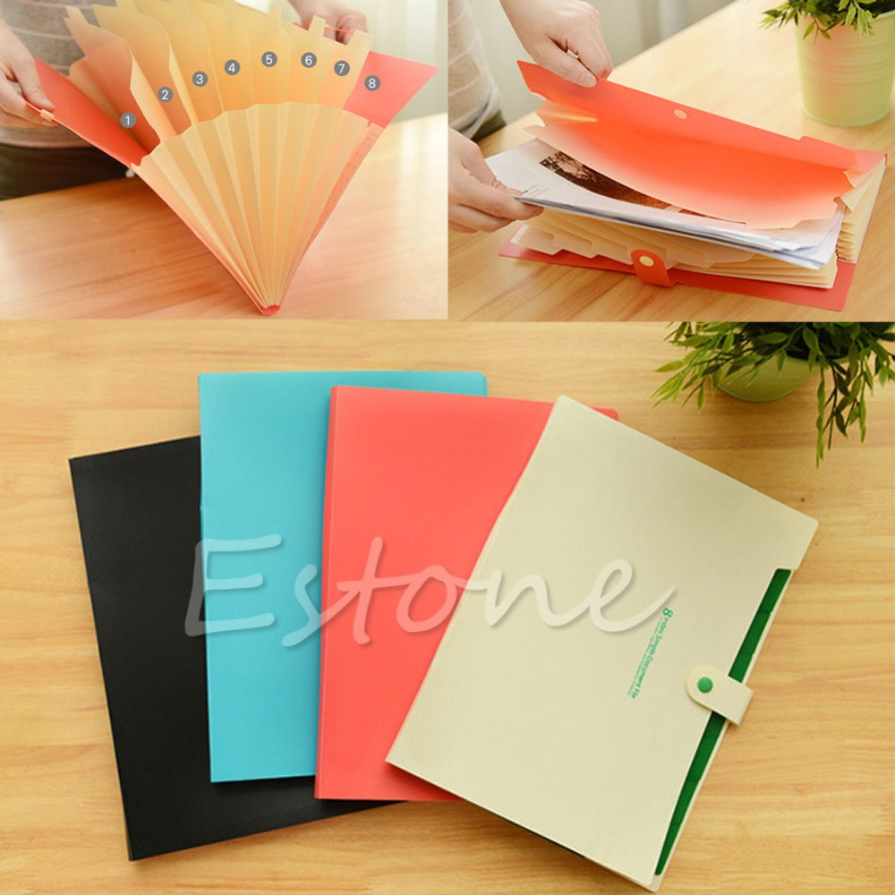 C18 Free Shipping Hot Plastic 8 Pockets A4 Paper File Folder Holder Document Office Supplies 1PC(China (Mainland))