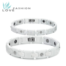 Free Shipping fashion jewelry magnetized anti-fatigue lovers ceramic magnetic health bracelets WS419MKW