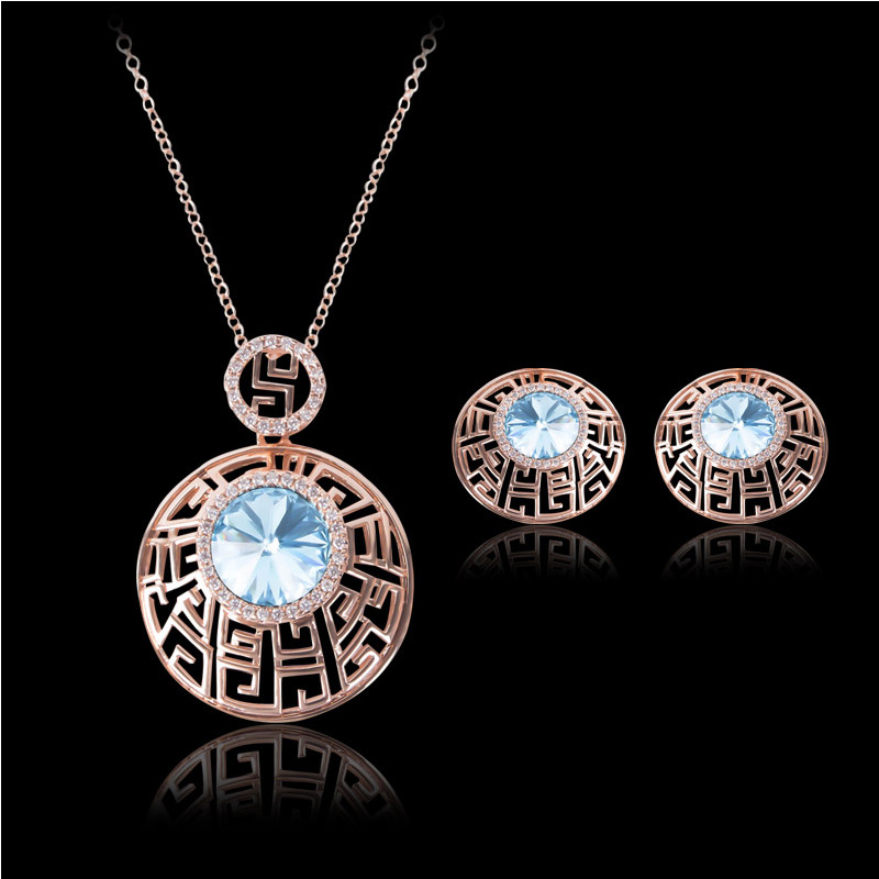 Women 18K Gold Plated Necklace Earrings Set Vintage Blue Crystal Jewelry Sets Unique Design Statement Jewelry(China (Mainland))