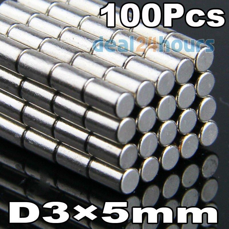 Гаджет  100pcs/lot N35 Strong Cylinder Magnet D3mm x 5mm Rare Earth Neodymium Bulk Fridge Magnets N35 Free Shipping None Строительство и Недвижимость