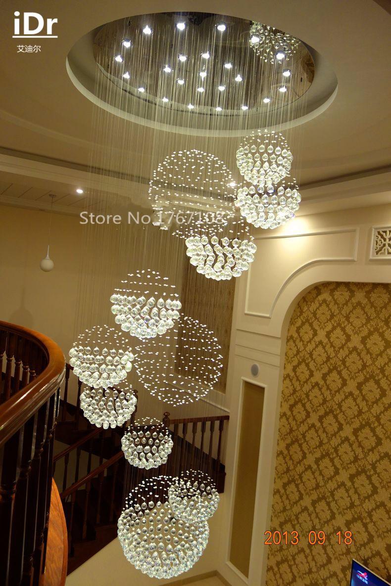 Купить 11 хрустальный шар лампы пентхаус этаж лестница зал СВЕТОДИОДНЫЕ фонари висящие провода Современная гостиная хрустальная люстра