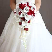 Janevini 2018 Vintage Red Rose Bouquet dengan Kristal Air Terjun Bridal Mutiara Putih Pernikahan Bouquet Buatan Bunga Pengantin Bros(China)