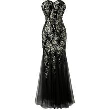 Angel-fashions New Strapless Seuqins Lace up Mesh Mermaid Long Evening Dress Black(China (Mainland))