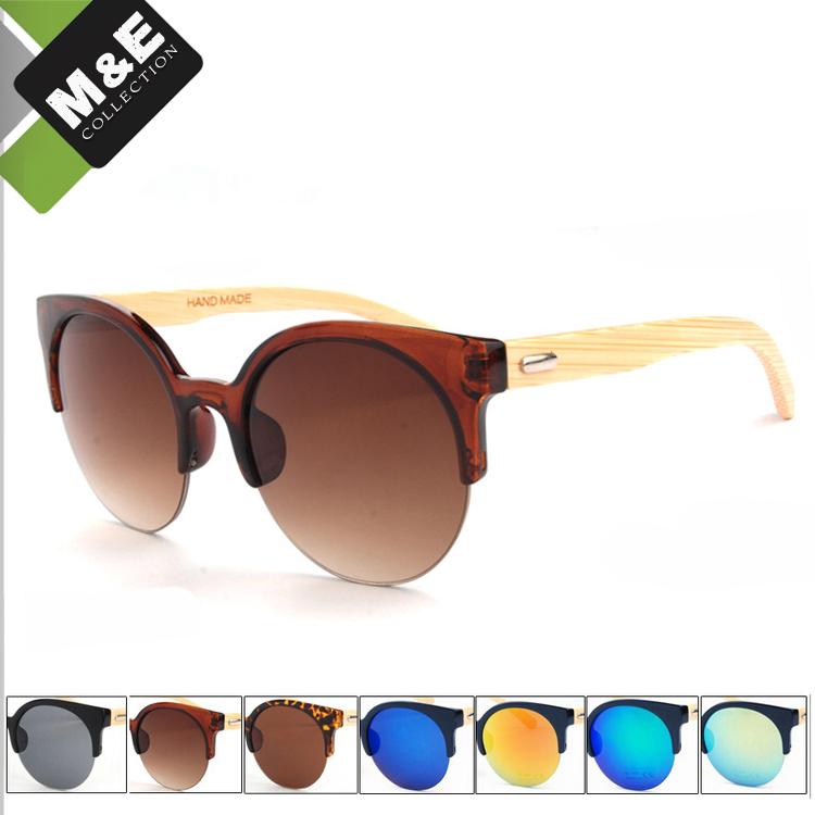 Fashion in M&E Female Cat Eye Sunglasses Wood CE UV400 Bamboo Sun Glasses Women Occhiali Da Sole(China (Mainland))