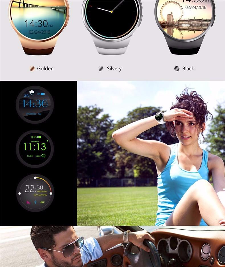 ถูก สมาร์ทนาฬิกาKW18ทองอัตราการเต้นหัวใจที่รองรับสำหรับแอปเปิ้ลIOS/AndroidบลูทูธR ElojมินิซิมS Mart W Atchสวมใส่อุปกรณ์