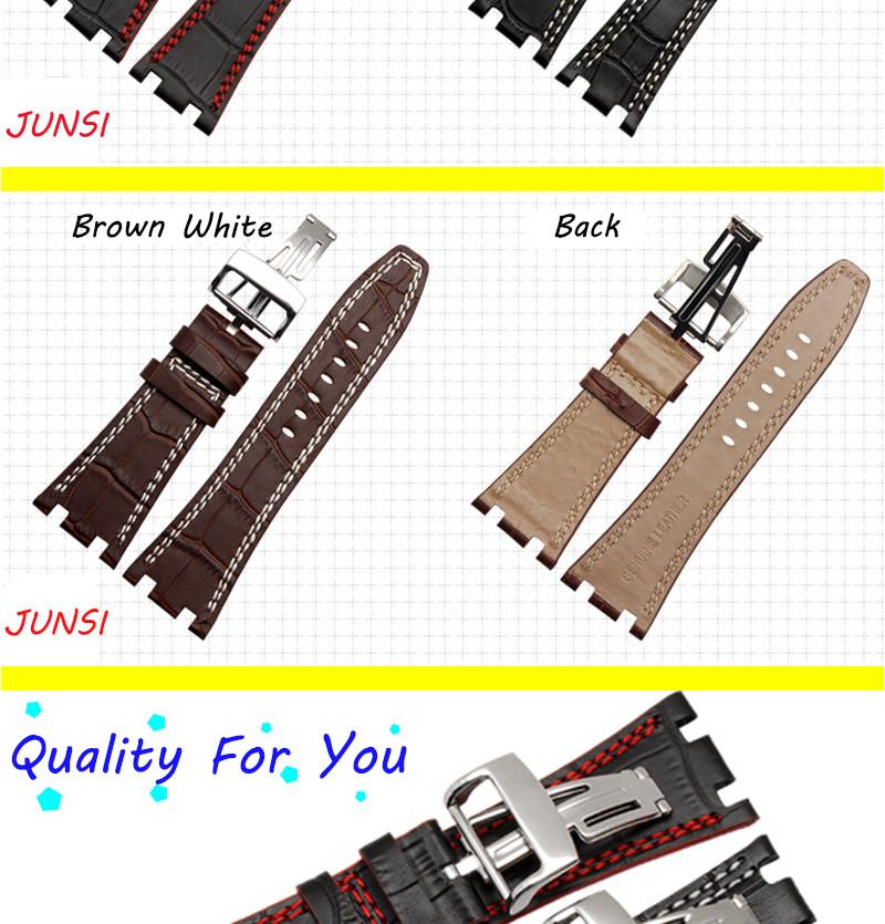 Качество Натуральная Кожа Ремешок Для Часов + Застежка Для Mens 28 мм Для Audemars Piguet Часы Ремень