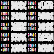 OPHIR Nail Tools Airbrush Nail Art Stencil Design 20 Template Sheets Kit Air Brush Paint Stickers & Decals _JFH6-JFH10(China (Mainland))
