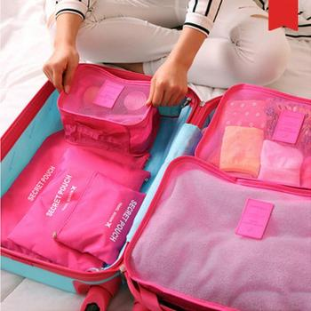 New 6pcs/set Women Men Travel Bag Waterproof High Capacity Luggage Clothes Tidy Sorting Pouch Portable Organizer Case