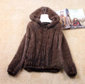 Free shipping Naturalgenuine real knit Mink Fur Winter Coat Women s Long sleeve Top Fashion All
