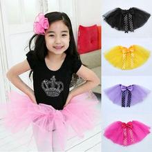 Baby Kids Girls Dancewear Cute Chiffon bow Tutu Full Pettiskirt Princess Skirt(China (Mainland))