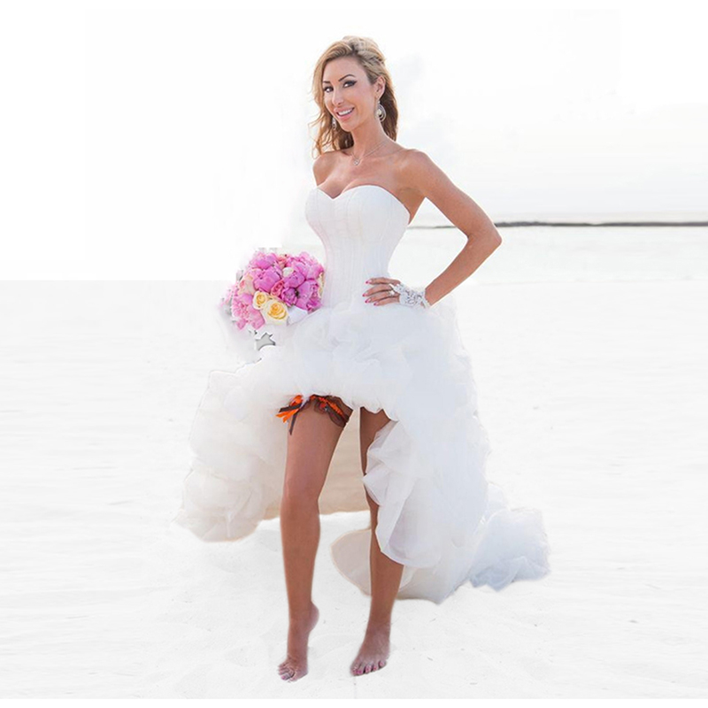 2016 Sexy High Low Beach Wedding Dresses Short Front Long Back White Boho Wed
