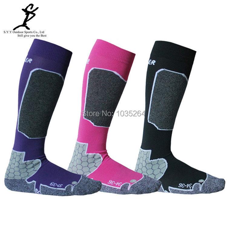 HOT 2014 Winter Sport Women Cotton Thermal Skiing Ski Socks 3 Colors(China (Mainland))