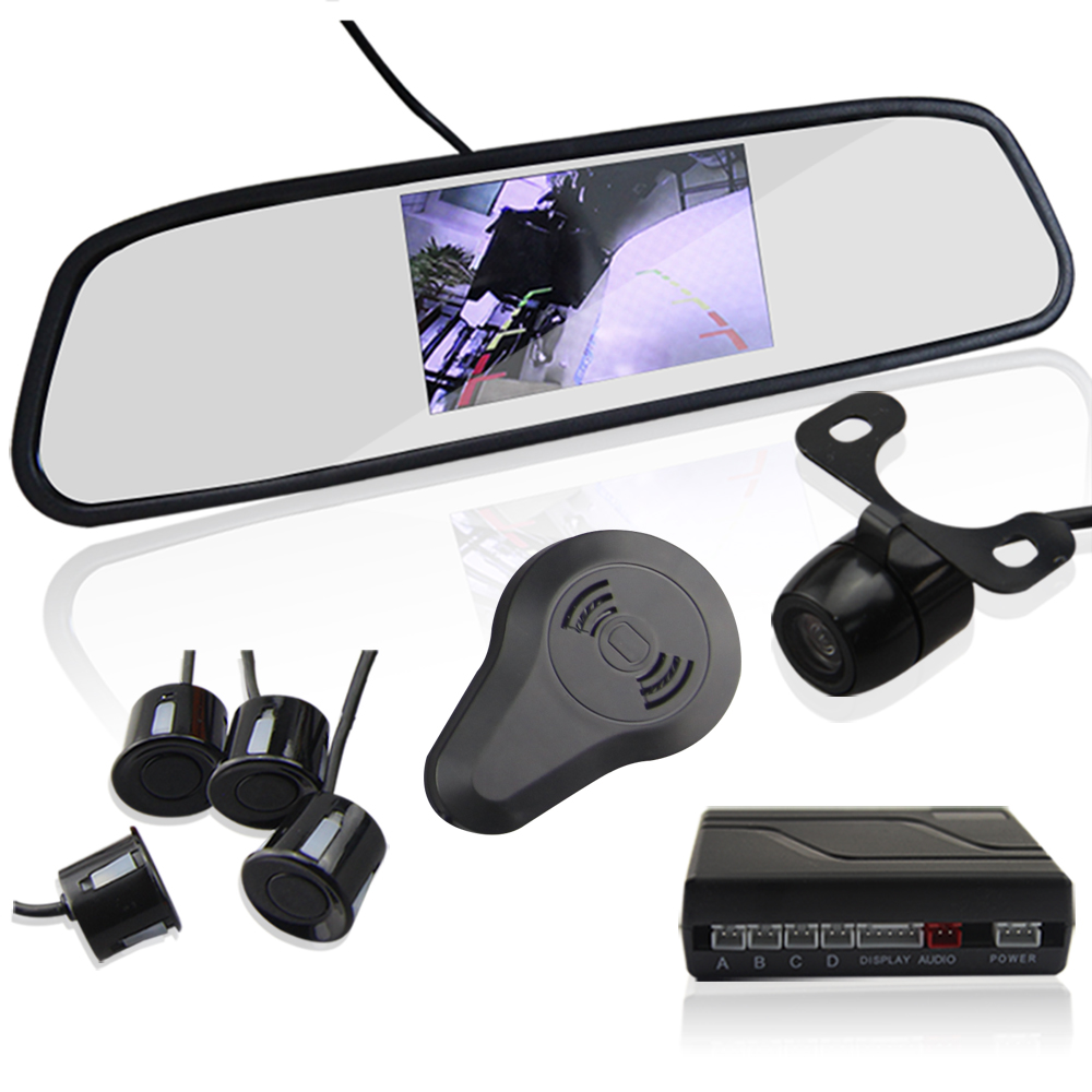 Auto Parking Sensor with Rear View Mirror 4.3 inch LCD Display Parktronic sensor 4 car detector ...