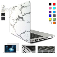Marble Matte Case for Macbook Air Pro Retina 11 12 13 15 inch Laptop Bag for Mac Book 13.3 inch Keyboard Cover+screen Protector