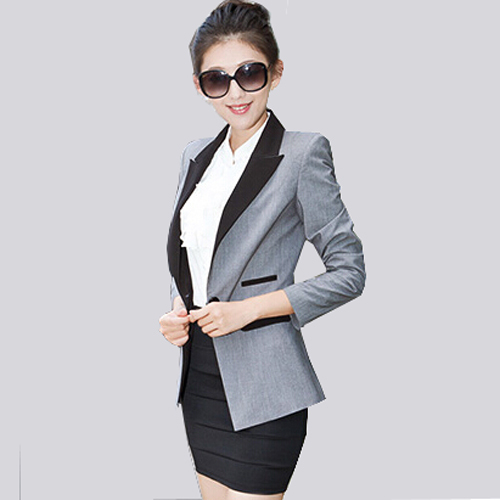 Autumn Blazer Feminino Europe Style Spring Fashion Women Blazers Work Wear Office Suit Coat Brand Slim Lady Jacket Blazer Gray(China (Mainland))