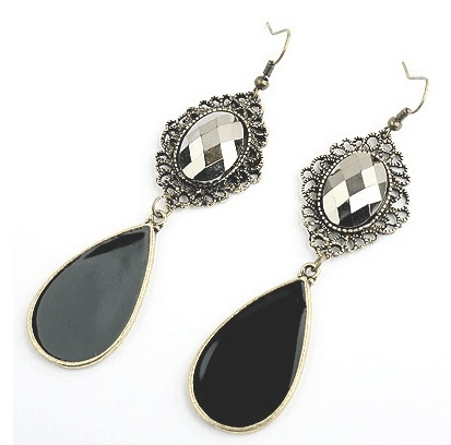 wholesale 33pairs retro alloy Oval Carving Bronze Edges gem Pear Imitation big black Agate Long Dangle earrings for women 2015<br><br>Aliexpress