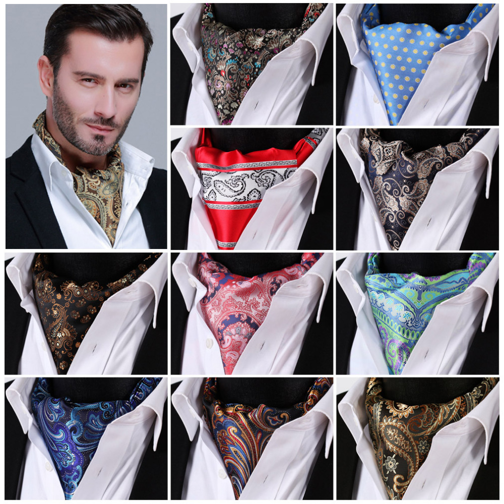 Paisley Floral 100%Silk Ascot Cravat, Casual Jacquard Scarves Scarf Ties Woven Party FB - HISDERN store