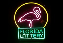 Super Bright!!!Florida Lottery Flamingo Handcrafted Neon Sign Neon Light Sign Beerbar Sign Neon Beer Sign 24x20.Free Shipping!(China (Mainland))
