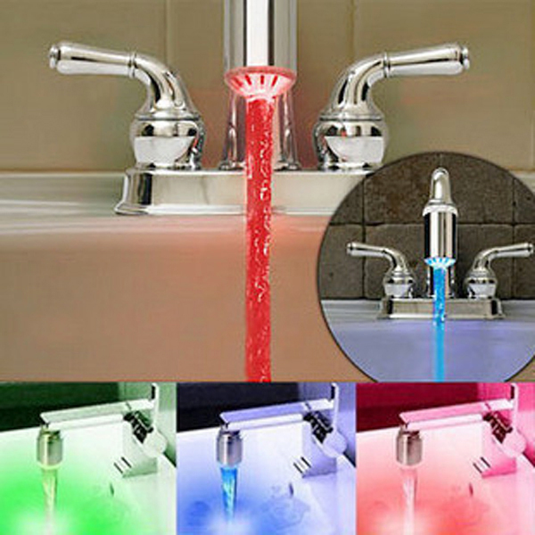 2015 No Battery water-saving Temperature Sensor 3 Color bathroom sink faucet Water Tap Faucet RGB Glow Shower Colorful LED Light(China (Mainland))