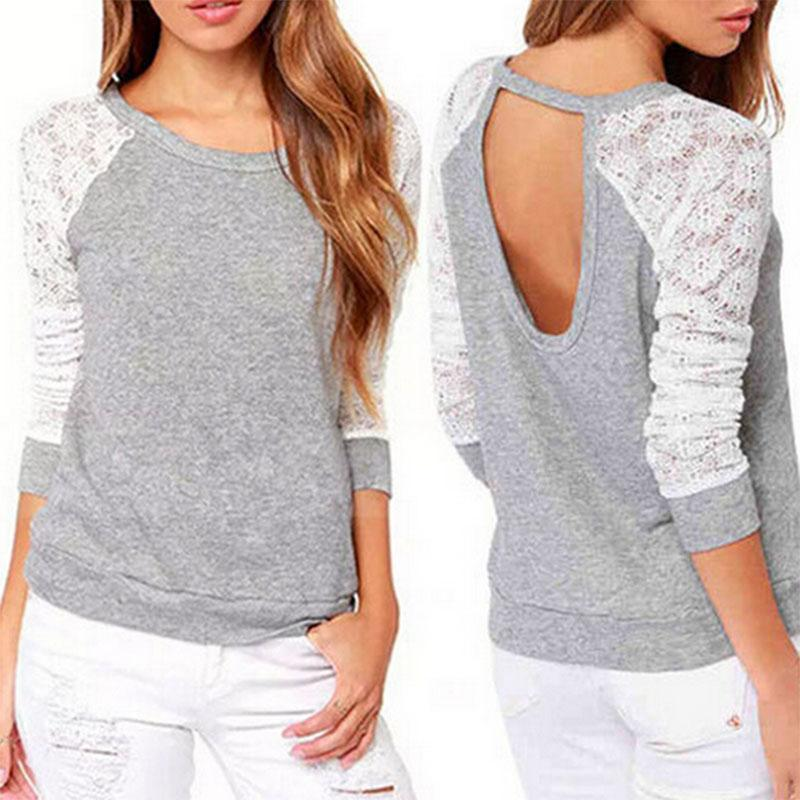 New 2016 Spring Autumn Women Backless Embroidery Lace Casual Hoodies Long Sleeve Sweatshirts Ladies(China (Mainland))