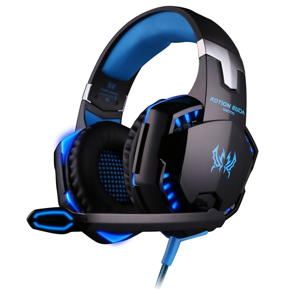 EACH G2000 Game Gaming Headset Over-ear Earphone Headband Headphones Blue/Orange with Mic Stereo Bass LED Light for PC Games(China (Mainland))