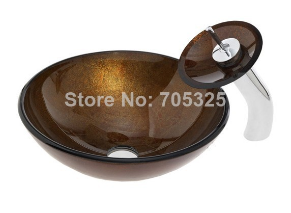Bathroom tempered glass vessel sink & mixer chrome faucet and drain hot selling 002(China (Mainland))