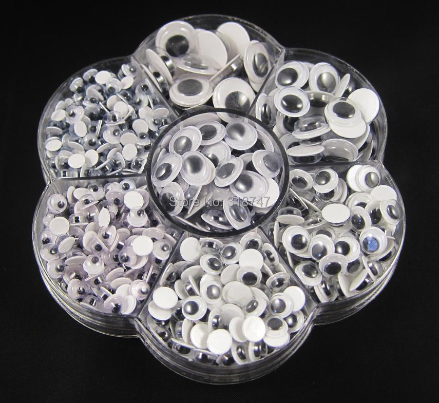 700pcs/box (mix 7 sizes) round self-adhesive googly eyes D1001000700(China (Mainland))