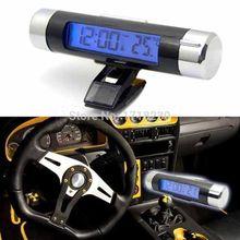 Reloj del coche Portable electrónica termómetro luz de fondo Digital LCD Display temperatura tiempo