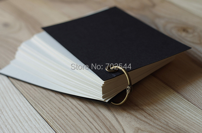 NEW Free shipping Black / Kraft paper cover single ring fitted notes this loose-leaf notebook Creative portable notepad(China (Mainland))