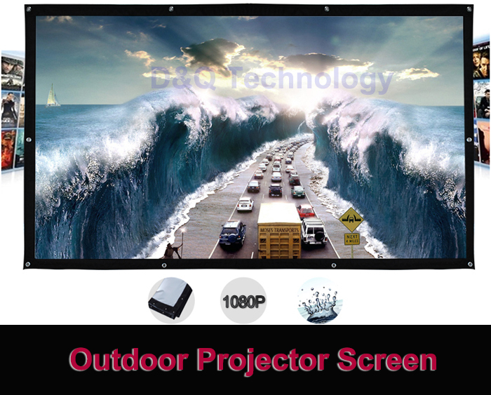 200 inches 16:9 Portable Wall Mounted Matt White Canvas Folding Outdoor Projector Screen for LED LCD HD Movie Projection Display(China (Mainland))