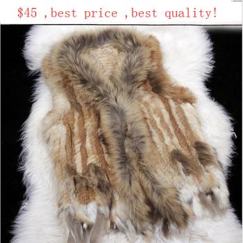 Настоящее дамы подлинная трикотажные кролика меховой жилет с енот меховой отделкой жилет зимний меховая куртка восточной мех