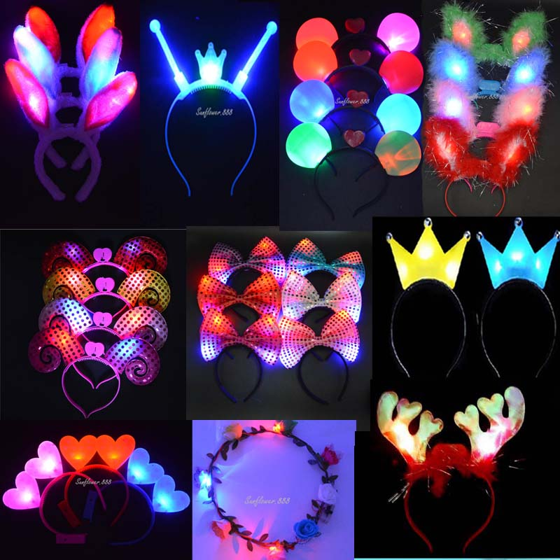 Women Girl Light-Up Flashing Hair Accessories Headband LED Lighting Rave Event Party Supplies(China (Mainland))