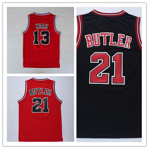 Cheap Chicago #13 Joakim Noah #21 Jimmy Butler Basketball Jerseys In Red Black Embroidery Logos - Visit Store To Get More Style(China (Mainland))