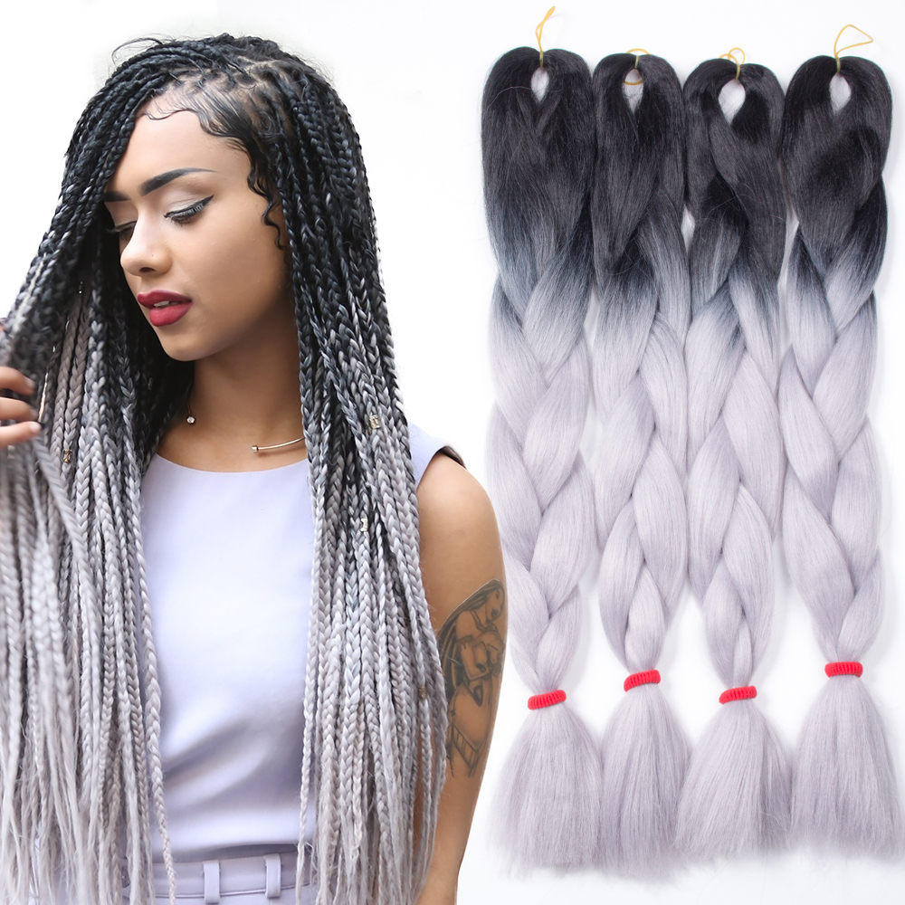 5pcs Ombre Kanekalon Braiding Hair Grey/Gray Kanekalon ...