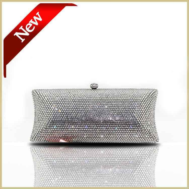Full Diamond Crystal Women Evening Bags Clutch Purses Styling Evening Clutch Handbags Silver Wedding Bags DHL Free(China (Mainland))