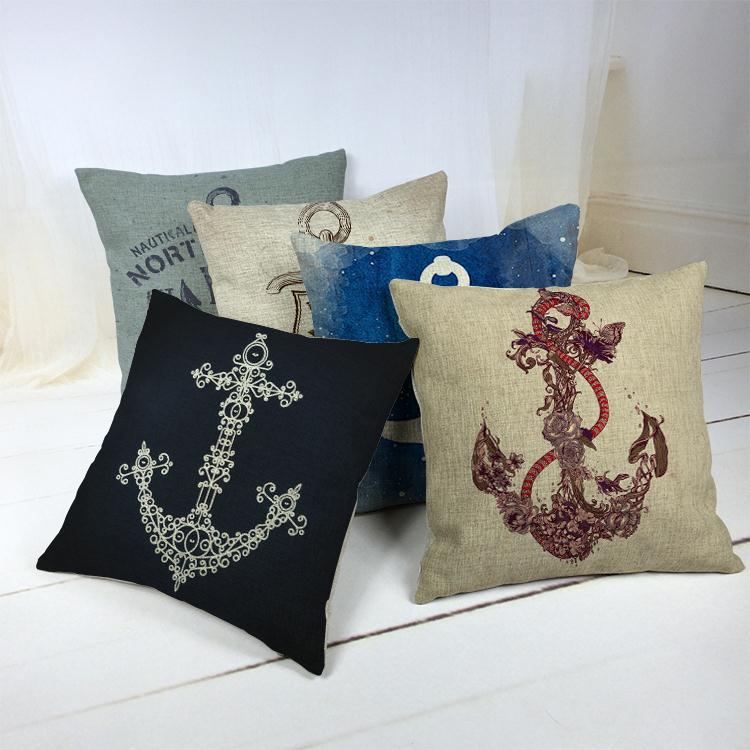Hot Sale Thick and Thin Cotton Linen Decor Pillow New Home Fashion Gift 45cm Blue mediterranean sea anchor Office Sofa Cushion