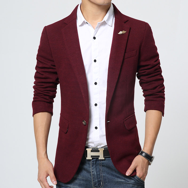 new blazer men slim fit casual for autumn winter wine blue. Black Bedroom Furniture Sets. Home Design Ideas