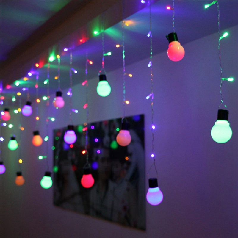 Lowest Price Colourful 48 LED Bulb Icicle Fairy Light String Wedding Xmas Christmas Party Decoration Lamp 110V(China (Mainland))